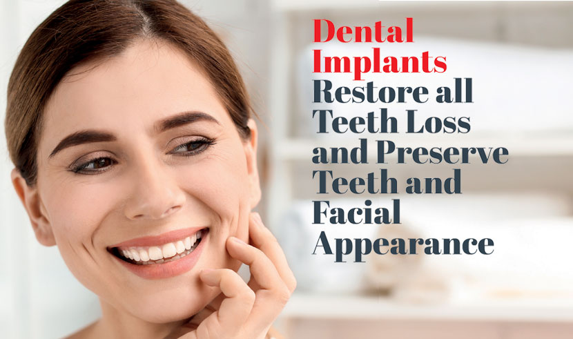 Dental Implants Restore all Teeth Loss and Preserve Teeth and Facial Appearance